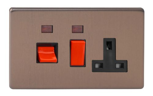 Varilight XDY45PNBS.BZ Screwless Brushed Bronze 45A DP Cooker Switch + 13A Switched Socket